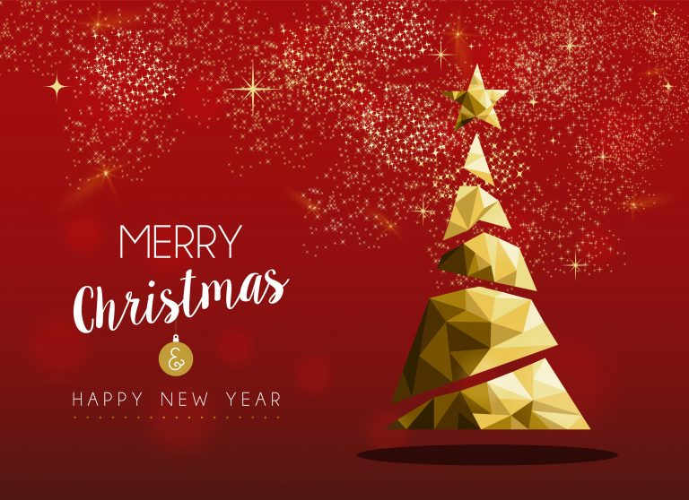 Gold Merry Christmas and New Year pine tree card
