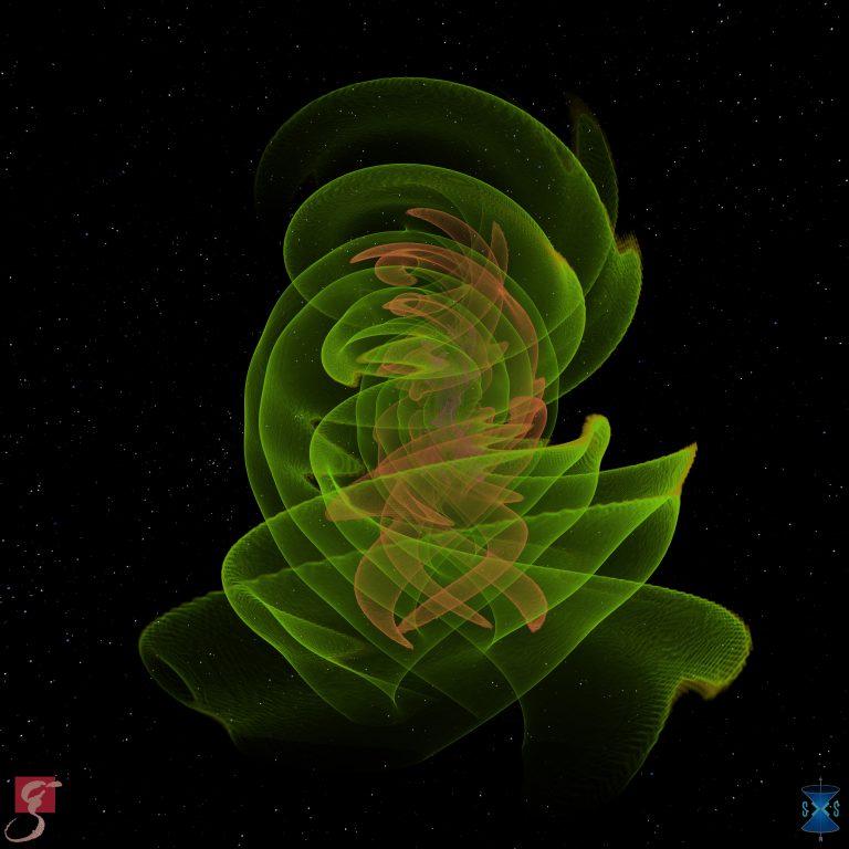 © Numerisch-relativistische Simulation: S. Ossokine, A. Buonanno (Max-Planck-Institut für Gravitationsphysik), Simulating eXtreme Spacetimes Projekt; Wissenschaftliche Visualisierung: W. Benger (Airborne Hydro Mapping Software GmbH)
